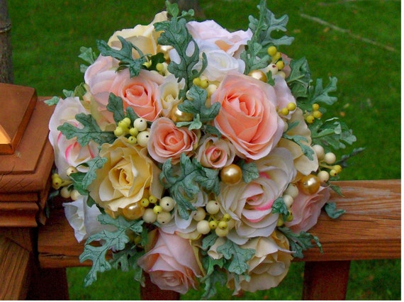 Bridal Peaches and Cream Pastel Bouquet