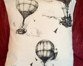 final few Hot Air Balloon Pillow - Decorative Pillow Case - Screenprint Pillow cover - Pearl