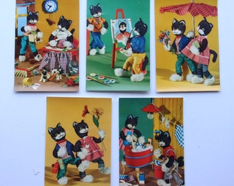 set of 5 vintage postcards - humanized cats - REF. 351