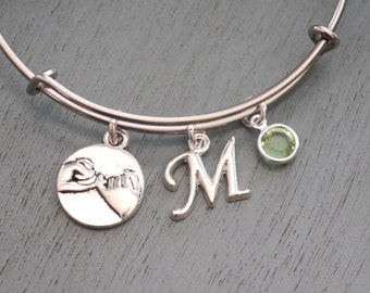 Best Friends Bracelet, Pinky Promise Bangle, Promise Bracelet, Sisters Bracelet, Letter Birthstone, Silver, Custom, Promise Gifts, Friends