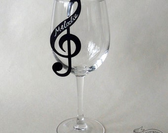 10 TREBLE CLEF Place Cards Black Musical Note Wine Glass Decorations Name Cards Music Jazz Wedding/ Party