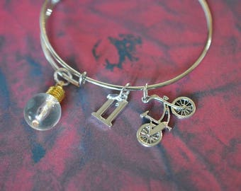 Biolojewelry - Eleven 11 Light Bulb Bicycle Stranger Bangle Bracelet
