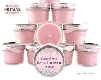 12 ct Silver and light pink baby shower favors, 4 oz personalized soy candles, gender reveal party favors, new baby, confetti design