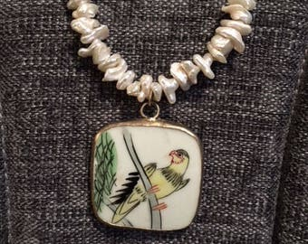 Keshi Pearl Necklace with Chinese Pottery Shard Bird