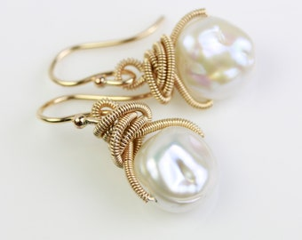 White Freshwater Bumpy Pearls in Gold Fill or Sterling Silver