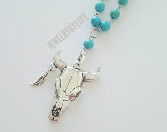Taurus Necklace, Silver Statement Necklace, Turquoise Necklace, Skull Bull Horns Boho Necklace, Long and Layered, Bohemian, Tribal cowgirl