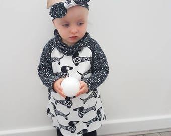 Dachshund dog raglan sleeve dress - baby dress - baby girl clothing - organic baby clothes - baby outfit - girls dress - monochrome