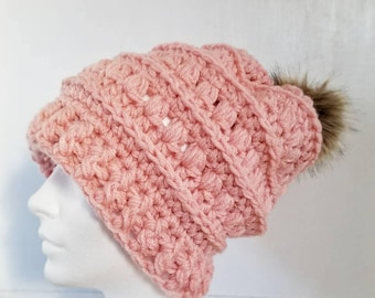 Mabel Toque.Ready to Ship//PINK BLUSH Slouch Hat//Faux Fur Pom Pom//Crochet Hat//Puffy Hat//Ribbed Band