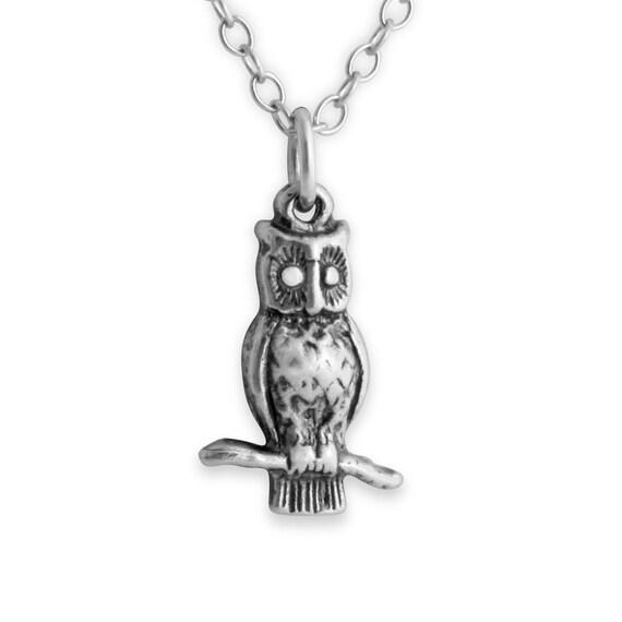 3D Owl Night Bird Nocturnal Animal Symbol of Wisdom Native American Zodiac Sign Charm Pendant Necklace #925 Sterling Silver #Azaggi N0001S