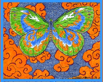 Papillon D'Esprit, Butterfly of the Spirit, Archival Hand Made Blank Card, Verticle 5 x 7
