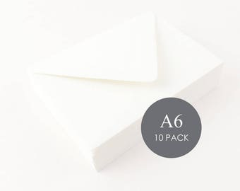 """A6 Euro Flap Envelopes - 4 3/4"""" x 6 1/2"""", Ivory, sold in sets of 10"""