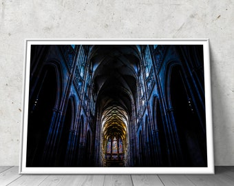 Prague Cathedral FINE ART Print | Travel Photography Gothic Home Decor Stained Glass Religious Wall Art Gothic Decor Catholic Art Poster