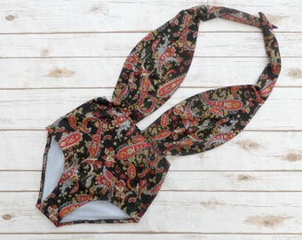 Swimsuit High Waisted Vintage Style One Piece Retro Pin-up Maillot - Black and Red Paisley Floral Print Bathing Suit Swimwear - So Cute!