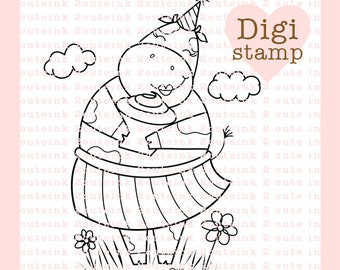 Birthday Cow Digital Stamp - Birthday digi - Cow digital art for - Card Making - Paper Crafts - Scrapbooking - Stickers - Coloring Pages