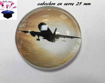 1 cabochon clear 25 mm round airplane theme