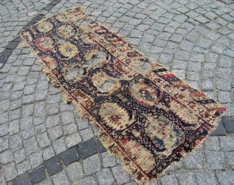 1900's Caucasian Vegetable Dye Collectible  Fragment  Carpet  Rug  30,7'' X 80,3''  Area  Rug