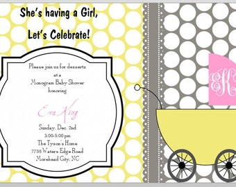 Printable Monogram Baby Shower - Baby Girl - PDF file - digital