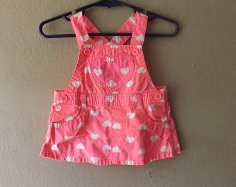 Baby Girls Pink Heart Jumper Overalls Dress Size 0 / 3 Months
