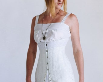 Late Edwardian 1910s Corset, Underbust Corset, 1910's Edwardian Corset in white cotton coutil brocade,