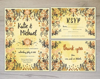 Printable Wedding Invitation Suite / Custom Wedding Invites / DIY Wedding Invitation Set / Digital Download Invitation / Floral Wedding