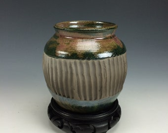 Deep Green, Subtle Pink and Black Raku Ceramic Vase, Modern Home Decor, Unique Carved Clay, Southwestern Vessel