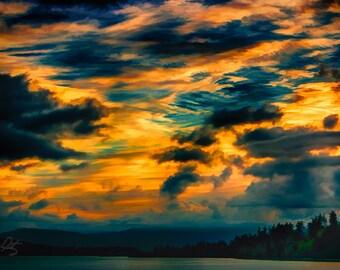 Abstract Sunset Over Puget Sound, Interior Design Downloads