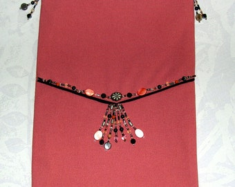 Small bag - clutch strap color peach decorated with beads