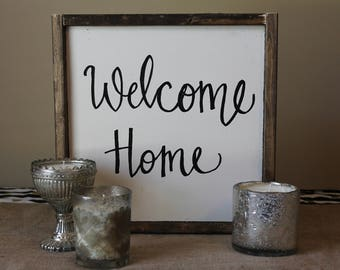 Welcome Home Rustic Wooden Canvas