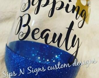 Sipping Beauty Glitter Wine Glass, Disney, Princess, Sleeping Beauty,princess, Aurora, sleeping beauty, disney