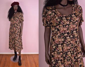 90s Button Down Floral Print Dress/ Medium/ 1990s