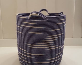 Extra Large Blue Dyed Rope Basket with Handles