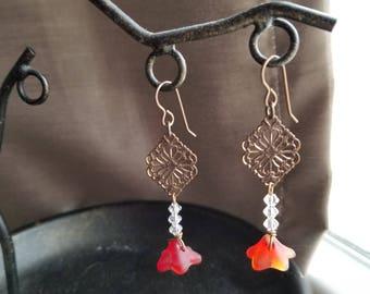 Red Glass Flower Drop earrings