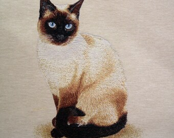 SIAMESE cat tapestry panel fabric coupon