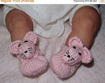 HALF PRICE SALE Digital file pdf download knitting pattern madmonkeyknits Baby Sugar Mouse Shoes pdf knitting pattern