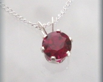 January Birthstone Necklace Sterling Silver Garnet Jewelry Pendant