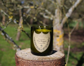 Upcycled Vintage Dom Perignon Champagne Bottle Candle