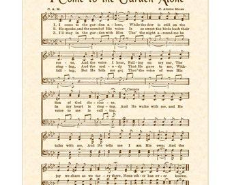 I Come To The Garden Alone a.k.a. In The Garden - Hymn Art - Christian Home Decor - VintageVerses Sheet Music - Wall Art - Sepia Brown