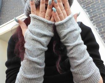 Knit Fingerless gloves Long Fingerless gloves  Long Arm warmers Knit fingerless mittens Gray Mittens Boho Fingerless gloves gift for her