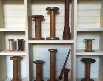 Antique wooden spools… Lot of 12-vintage and original-lot 15