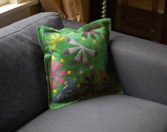 green fan pillow
