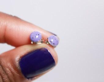 tiny purple glitter earrings, stud earrings, resin earrings, nickel free jewelry