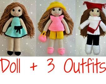 Crochet doll pattern plus crochet doll clothes pattern, amigurumi girl pattern, crochet girl amigurumi, crochet doll clothes, crochet toys