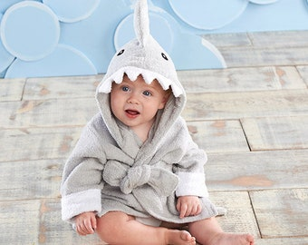 """Infant's Personalized """"Let the Fin Begin"""" Shark Spa Robe - Gray"""