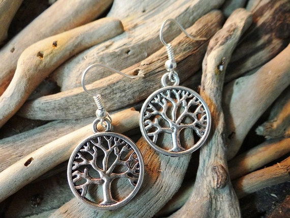 Tree Of Life Smooth Earring Earrings Ear Ring Rings Drops Drop Dangle Dangles Pagan Wiccan Wicca Spiritual Eternity Family Immortality