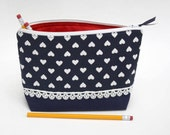 Navy Hearts Makeup Bag with Lace Detail, Triangular Pouch, Toiletry Bag, Accessories bag, Organizer pouch, Cosmetic bag