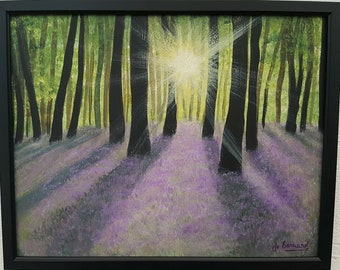 "Bluebell Woods Acrylic Framed Painting / Woodland Art / Original Artwork / ""At the Edge of the Bluebell Woods"" framed 37.5cm w x 30cm h"