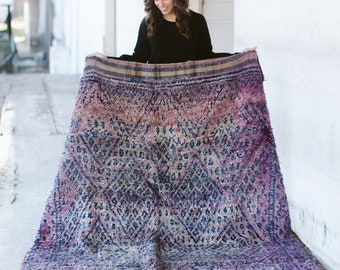 AFTERGLOW - Vintage Beni M'Guild Moroccan Rug (faded shades of purple, blue, hint of pink)