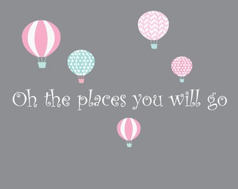 Quote with hot air balloons-Nursery Wall Decals-Wall Stickers-Children Wall Decals-Nursery Decor