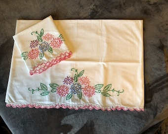 Vintage 1950's Pair of Hand Sewn, Embroidered and Crocheted - Cotton/Linen Pillow Cases