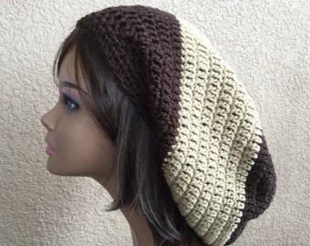 Rasta Tam, Brown Rasta hat, Brown Stripe Baggy Hat, Extra full Slouchy Beanie, Hipster Boho Hat